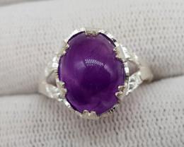 Natural Purple Amethyst 20.00 Carats Silver Ring S05