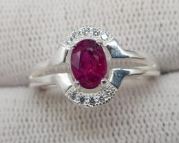 Natural Ruby 13.70 Carats 925 Silver Ring S06