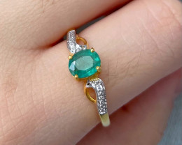 Natural Zambian Emerald Pink Gold Over Sterling Silver 2