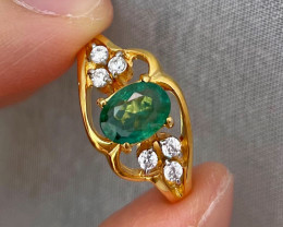 Natural Zambian Emerald Pink Gold Over Sterling Silver 4