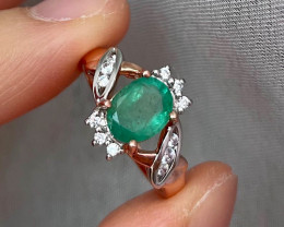 Natural Zambian Emerald Pink Gold Over Sterling Silver 6