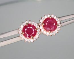 Attractive Natural Ruby, CZ & 925 Rose Gold Sterling Silver Earring