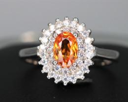 Gorgeous Natural  Orange Garnet, CZ & 925 Fancy Sterling  Silver Ring