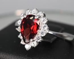 Attractive Natural Rhodolite Garnet, CZ & 925 Sterling  Silver Ring