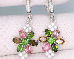 Gorgeous Natural Tourmaline, CZ & 925 Fancy Sterling Silver Earrings