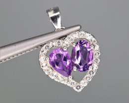 Beautiful Natural Amethyst, CZ & 925 Sterling  Silver Pendant