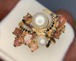 Natural Pink tourmaline and Pearl with black CZ