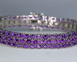Natural Worthy Attractive 124 Pieces Amethyst 925 Silver Barcelet