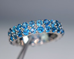 Natural 48Pis London blue Topaz 925 Silver Nice Design Ring