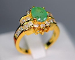 Natural  Emerald , CZ 925 Yellow Gold Plating Silver Nice Design Ring