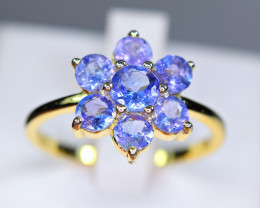 Natural 5Pis Tanzanite 925 Yellow Gold Plating Silver Amazing Design Ring