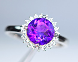 Natural Round Amethyst , Enough CZ 925 Silver Ring