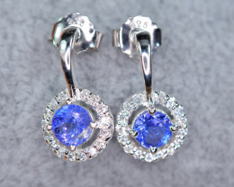 Natural Tanzanite, CZ Amazing 925 Silver Earrings