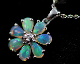 Cute Crystal Opal set in 9k White Gold Pendant CK 624