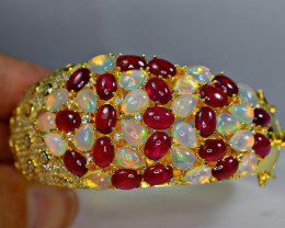 Natural 42Pis Opal & Glass filled Ruby ,CZ 925 Yellow Gold Plating Silver B