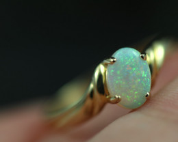 Crystal Opal set in 14 k Yellow Gold Ring Size 6  CK 641