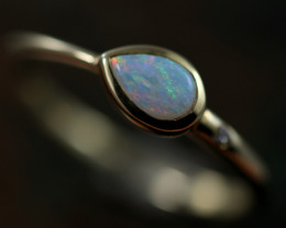 Crystal Opal set in 14 k Yellow Gold Ring Size 6  CK 648