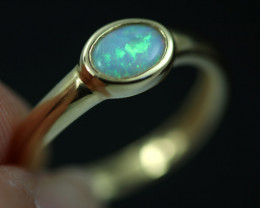 Crystal Opal set in 14 k Yellow Gold Ring Size 6  CK 643