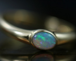 Crystal Opal set in 14 k Yellow Gold Ring Size 7  CK 646