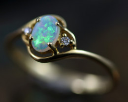 Crystal Opal set in 14 k Yellow Gold Ring Size  7  CK 649