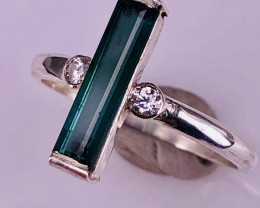Natural Indicolite Tourmaline And CZ Ring.