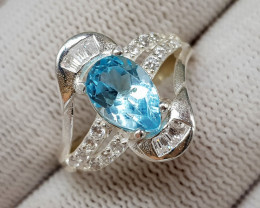 Natural Blue Topaz 17.80 Carats 925 Silver Ring  S07