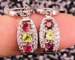Natural Multi Stone And CZ Earrings.