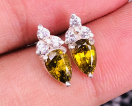Natural Rare Clinozoisite And CZ Earrings.