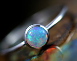 Crystal Opal set in 18 k White Gold Ring Size 7  CK 651