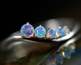 Crystal Opal set in 18 k White Gold Ring Size 6.5 CK 654
