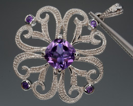 Natural Amethyst 29.17 Cts Silver Pendant