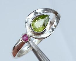 Natural Peridot and Ruby ring