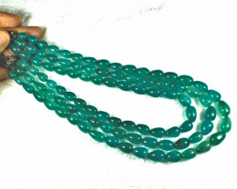 610.0 Tcw. 3 Strand Indian Emerald Necklace - Gorgeous