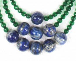 668.0 Tcw. Green Onyx And Lapis Lazuli Necklace - Gorgeous