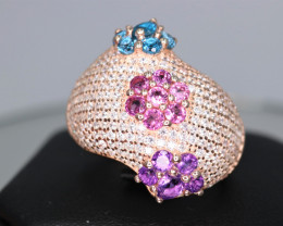 Gorgeous Natural Multi Stones, CZ & 925 Rose Gold Fancy Sterling  Silver Ri