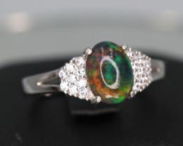 Fabulous Natural Black Fire Opal, CZ & 925 Fancy Sterling  Silver Ring