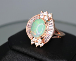 Gorgeous Natural Fire Opal, CZ & 925 Fancy Rose Gold Sterling  Silver Ring