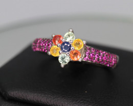 Fabulous Natural  Multi Sapphire,  CZ & 925 Fancy Sterling  Silver Ring