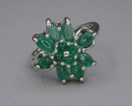 Natural Green Onyx Silver Ring 26.22 Cts