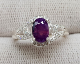 Natural Kashmir Sapphire 16.30 Carats 925 Silver Ring