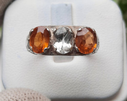 Natural Aquamarine and Spessartite Garnate 925 Silver Ring