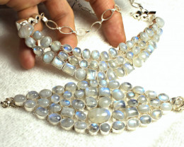 744.0 Tcw. Moonstone Sterling Silver Bracelet + Necklace - Gorgeous