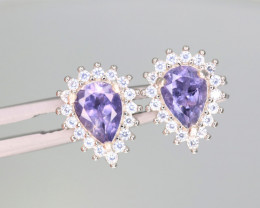 Attractive Natural Iolite, CZ & 925 Fancy  Sterling  Silver Earring