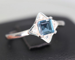 Beautiful Natural London Topaz, CZ & 925 Sterling  Silver Ring