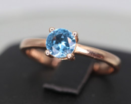 Beautiful Natural Swiss Topaz & 925 Rose Gold Sterling  Silver Ring