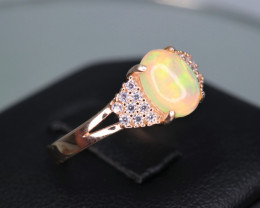 Gorgeous Natural Fire Opal, CZ & 925 Stylish Rose Gold Sterling  Silver Rin