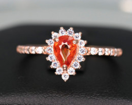 Attractive Natural Orange Sapphire, CZ & 925 Rose Gold Stylish Sterling  Si