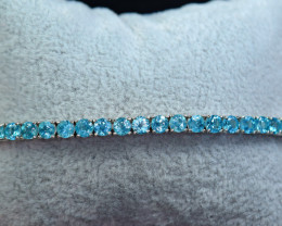 Natural 24 Pieces Swiss Blue Topaz Worthy Attractive 925 Silver Bracelet