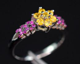 Natural 7Pis Yellow beryllium Sapphire ,CZ 925 Silver Amazing Design Ring