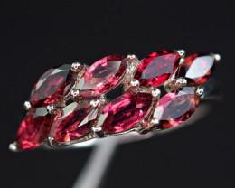 Natural  Rhodolite Garnet 925 Silver Amazing Design Ring